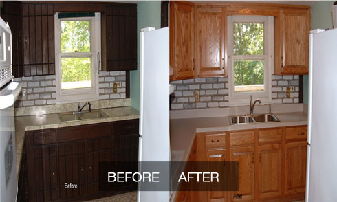 American cabinet refinishing and refacing saving on for Refinishing kitchen cabinets before and after